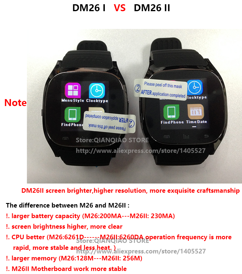 d2cf2db2b0f Smart Bluetooth Watch Smartwatch M26 with LED Display Barometer Alitmeter  Music Player Pedometer for Android IOS Mobile Phone