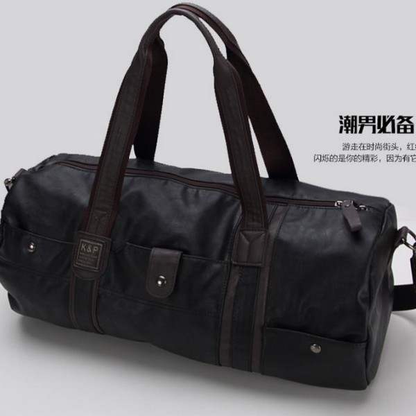 high quality brand men leather travel bag menu0027s vintage duffel bag large capacity gym bag shoulder strap outdoor sport tote 696t - Mens Leather Duffle Bag