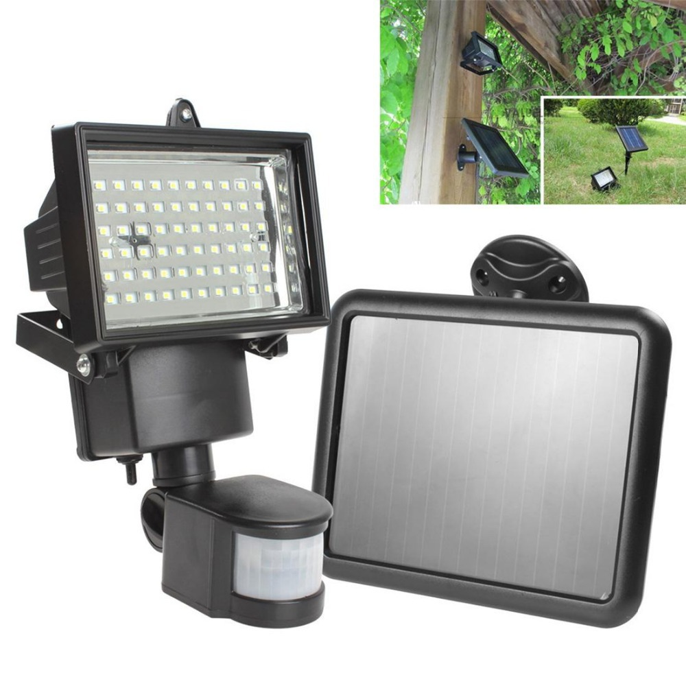 solar panel led flood security garden light pir motion sensor 60 leds path wall lamps outdoor. Black Bedroom Furniture Sets. Home Design Ideas