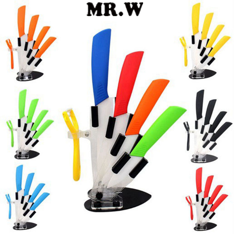 6 Colors Kitchen Ceramic Knife Set And Accessories Chef 6pcs 3 Inch 4 5 Peeler Acrylic Holder Bee Clean Products