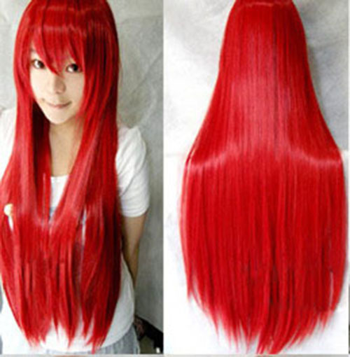 80 Cm Anime Cosplay Wigs Long Straight Synthetic Hair Heat
